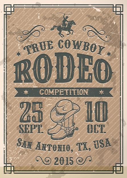Affiche De Rodéo De Cow-boy Américain Avec Typographie Et Texture De Papier Vintage Vecteur gratuit