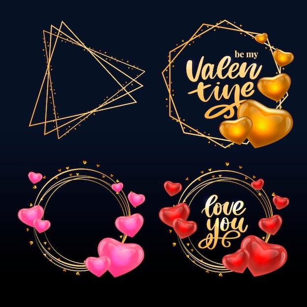 Affiche De La Saint-valentin, Carte, étiquette, Slogan De Lettre De Bannière éléments Vectoriels Pour Les éléments De Conception De La Saint-valentin. Typographie Love Heart Vecteur Premium
