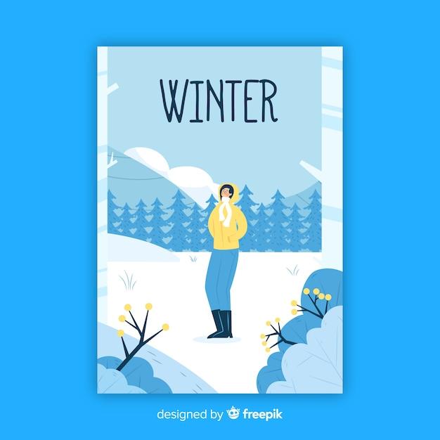 Affiche saisonnière hiver dessiné à la main Vecteur gratuit