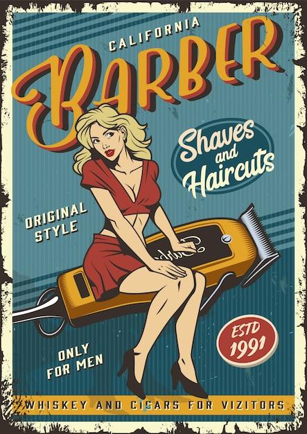 Affiche De Salon De Coiffure Vintage Vecteur gratuit