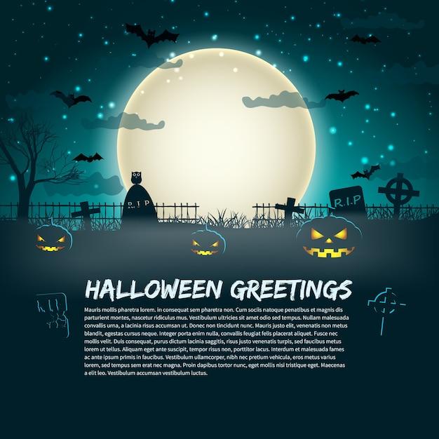 Affiche De Salutations D'halloween Avec Des Pierres Tombales De Cimetière à La Lune Rougeoyante Dans Le Ciel étoilé Vecteur gratuit