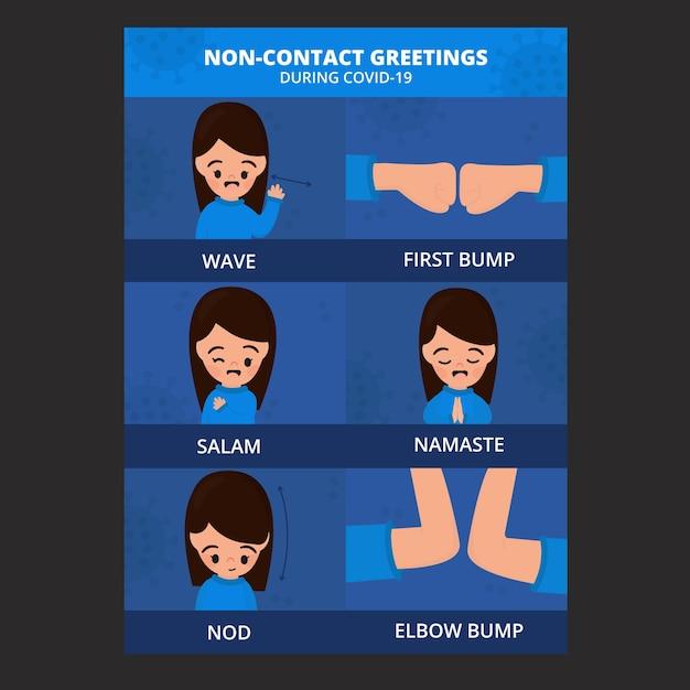 Affiche De Salutations Sans Contact Vecteur gratuit