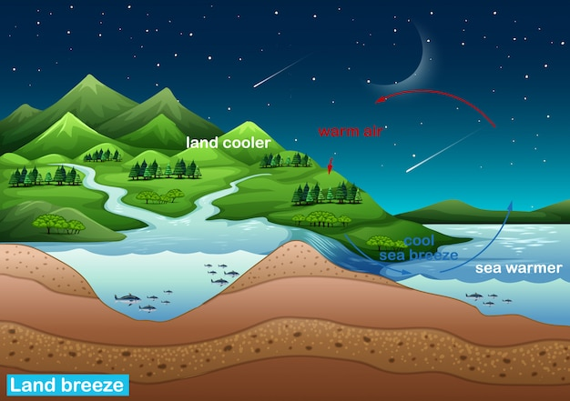Affiche Scientifique Sur La Brise De Terre Vecteur gratuit