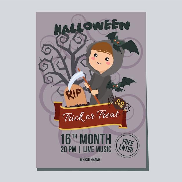 Affiche de la semaine d'halloween avec la fille de faucheuse Vecteur Premium