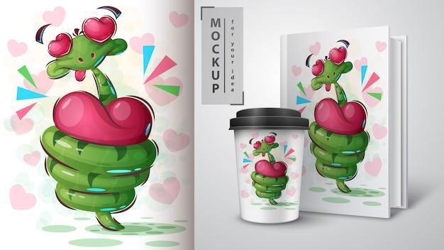 Affiche de serpent d'amour et merchandising Vecteur Premium