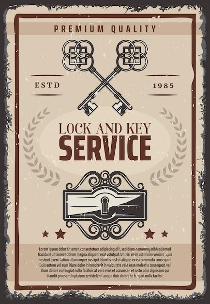 Affiche De Service De Serrure Et De Clés Vintage Avec Clés Anciennes Ornementales Et Trou De Serrure Vecteur gratuit