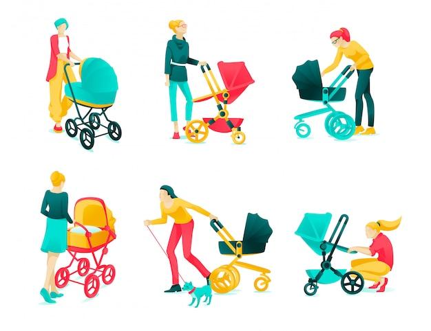 Affiche set caractère jeunes mères dessin animé plat. Vecteur Premium