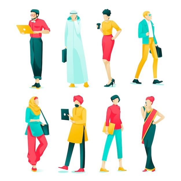 Affiche set character asian cartoon cartoon flat. Vecteur Premium