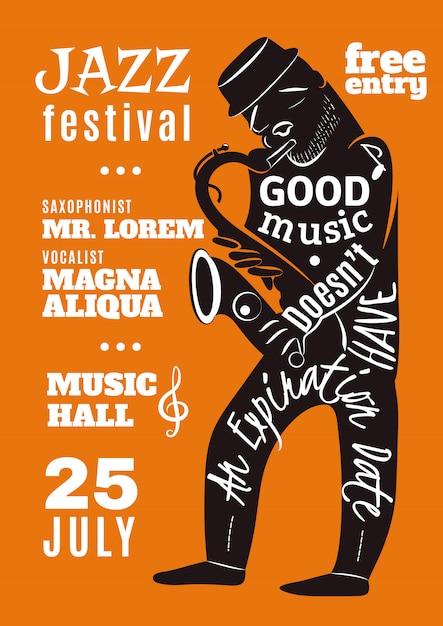 Affiche de silhouette de lettrage de festival de musique de jazz Vecteur gratuit