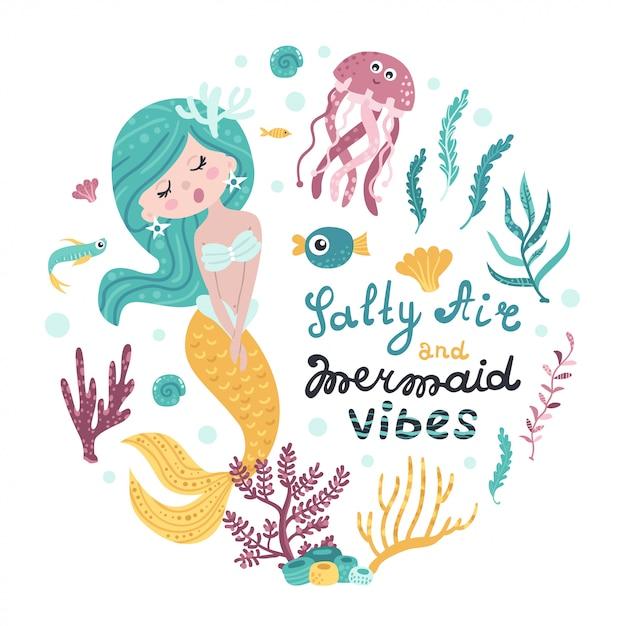 Affiche avec sirène, animaux marins et lettrage Vecteur Premium