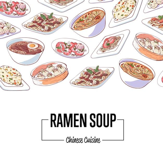 Affiche de soupe de ramen chinois avec des plats asiatiques Vecteur Premium
