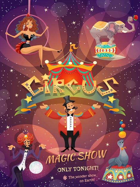 Affiche de spectacle de cirque Vecteur gratuit