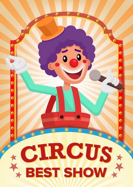 Affiche de spectacle de clown de cirque vierge. Vecteur Premium