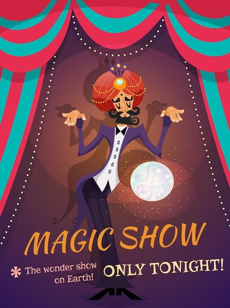 Affiche de spectacle magique Vecteur gratuit