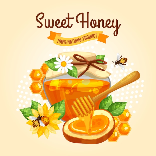Affiche sweet honey Vecteur gratuit