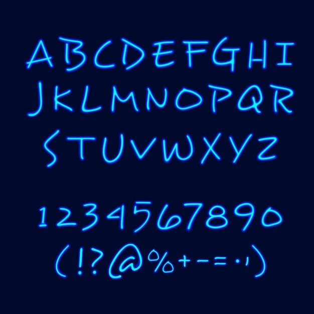 Affiche de tableau noir style néon à la main Vecteur gratuit