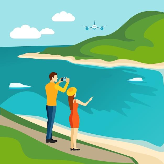 Affiche de tourisme touristique Vecteur Premium
