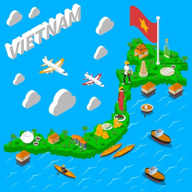 Affiche touristique isométrique de la carte du vietnam Vecteur gratuit