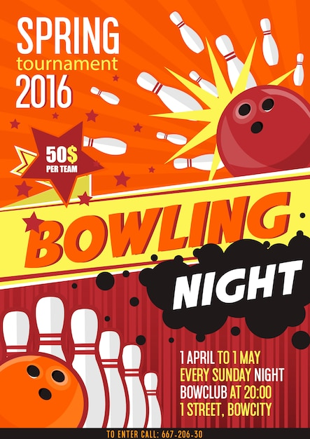 Affiche de tournoi de bowling Vecteur Premium