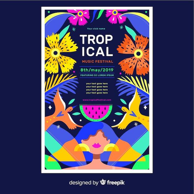 Affiche tropicale florale colorée pour des événements Vecteur gratuit