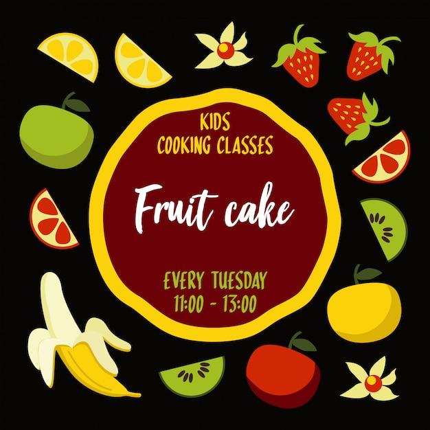 Affiche de typographie de gâteau aux fruits avec les ingrédients autour de la base du gâteau Vecteur Premium
