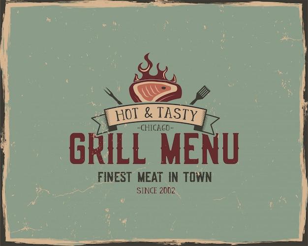 Affiche de typographie de menu de grillades et grillades. style grunge rétro Vecteur Premium
