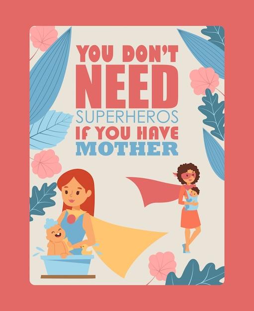 Affiche de typographie mère et enfant Vecteur Premium