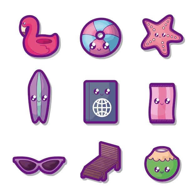 Affiche de vacances d'été définie des icônes Vecteur gratuit
