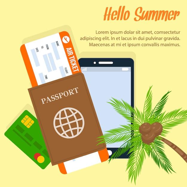 Affiche de vacances d'été exotiques avec espace de texte Vecteur Premium