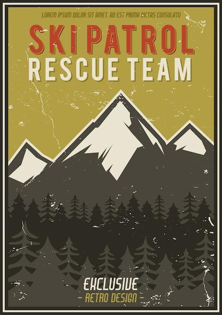 Affiche de vacances d'été ou d'hiver rétro. voyage et vacances illustration montagnes vintage Vecteur Premium