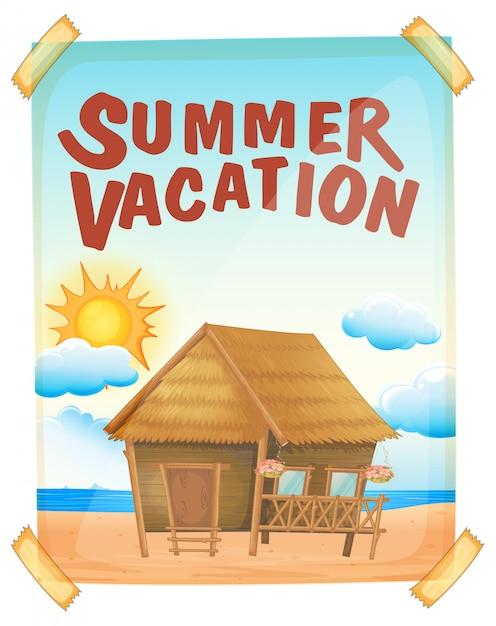 Affiche de vacances d'été sur le mur Vecteur gratuit