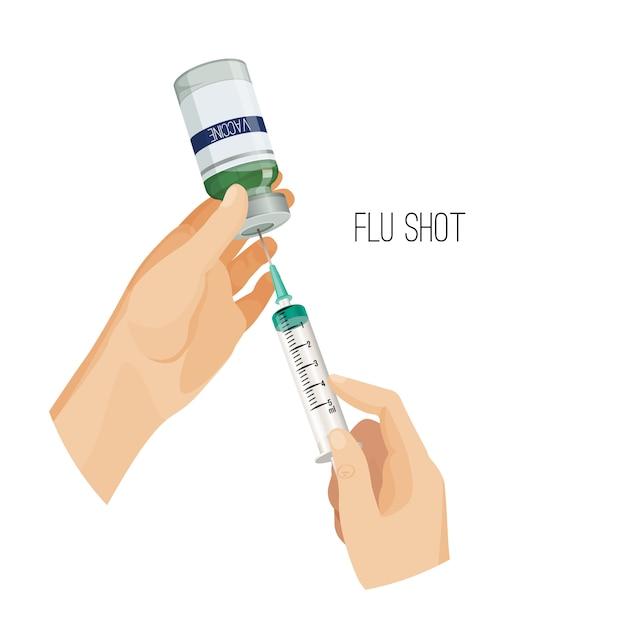 Affiche de vaccination contre la grippe Vecteur Premium