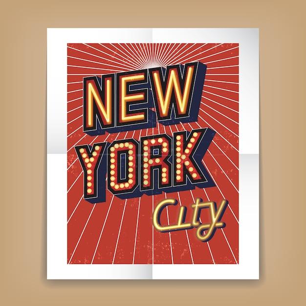Affiche De Vecteur De New York City Avec Des Polices De Texte Sous La Forme De Néons Ou D'enseignes électriques Vecteur gratuit