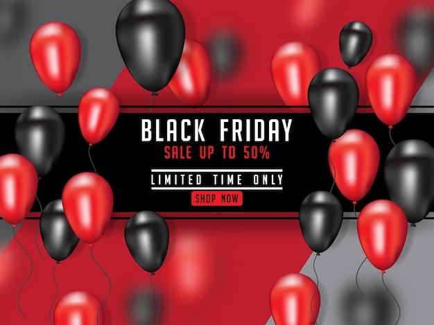 Affiche de vendredi noir avec ballon réaliste 3d Vecteur Premium