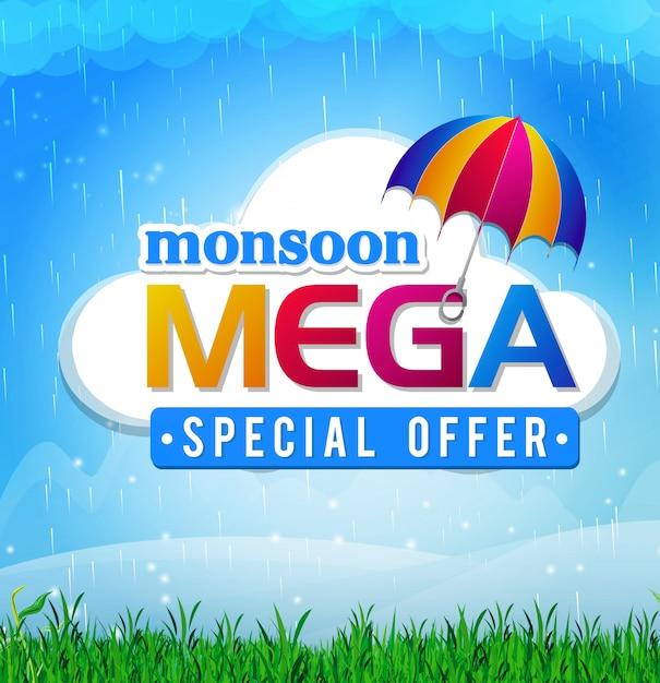 Affiche de vente abstraite pour monsoon huge offer Vecteur Premium