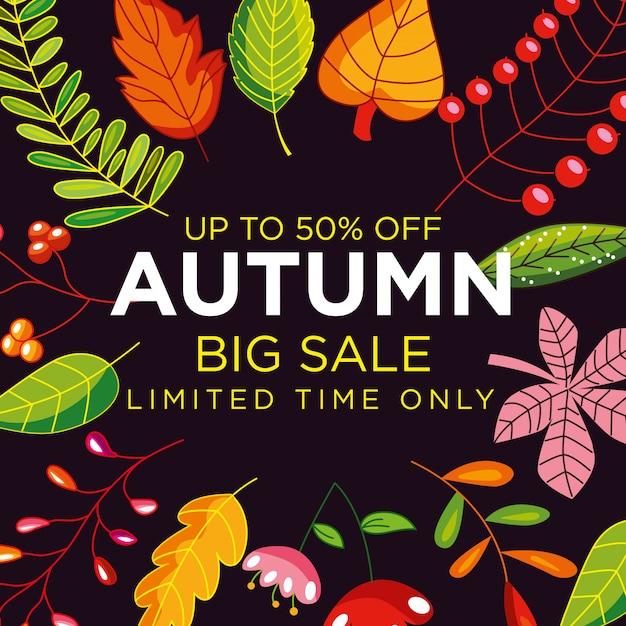 Affiche de vente automne avec cadre de feuilles Vecteur Premium