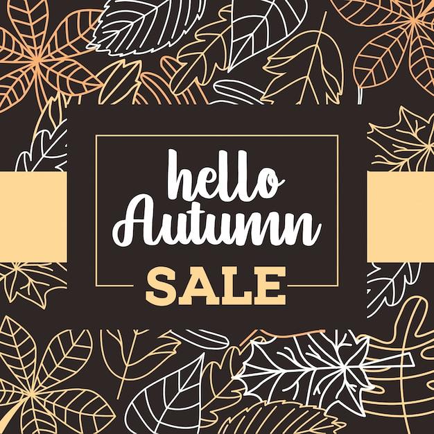 Affiche de vente d'automne avec des feuilles qui tombent Vecteur Premium