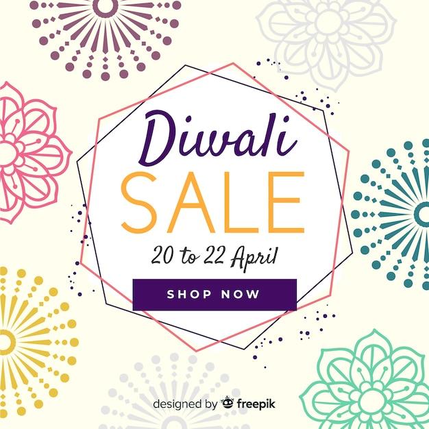 Affiche de vente diwali dessinée à la main Vecteur gratuit