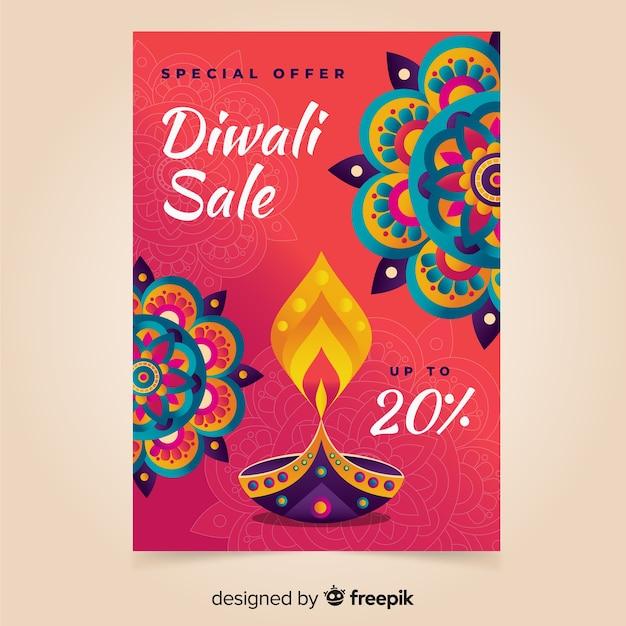 Affiche De Vente De Diwali Dessinés à La Main De Modèle Vecteur gratuit