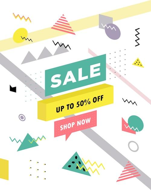 Affiche de vente avec des formes géométriques fond de vente super dans le style rétro des années 80 des années 90 de memphis Vecteur Premium