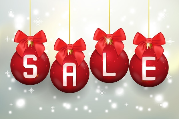 Affiche De Vente Joyeux Noël Avec Des Boules De Noël. Célébration De Vacances, Noël Et Nouvel An. Illustration Vectorielle Vecteur gratuit