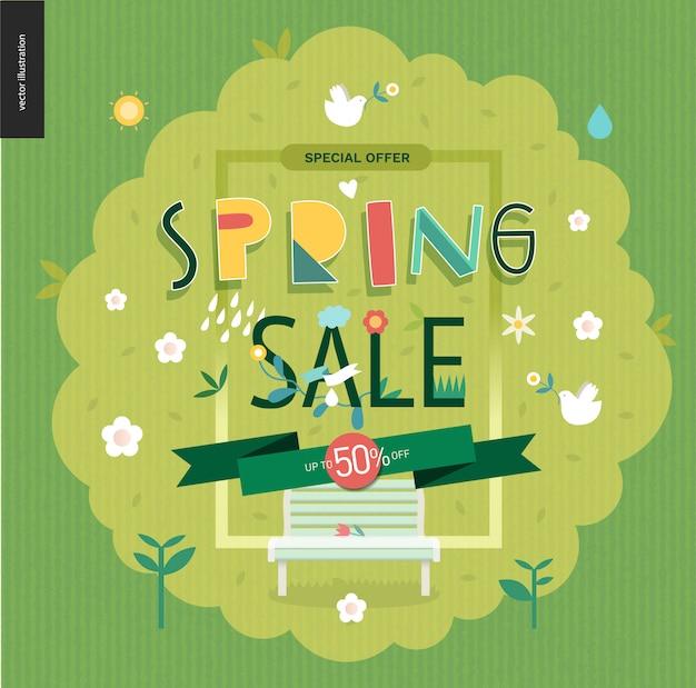 Affiche de vente de printemps Vecteur Premium