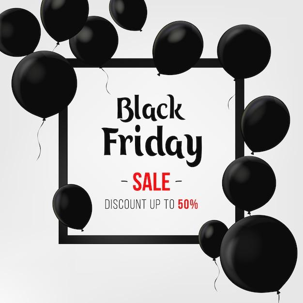 Affiche de vente de vendredi noir avec des ballons brillants sur fond noir avec cadre carré. conception de modèle de bannière de vente. étiquette de prix de l'offre de réduction, symbole de la campagne de publicité dans le commerce de détail, marketing promotionnel. Vecteur Premium