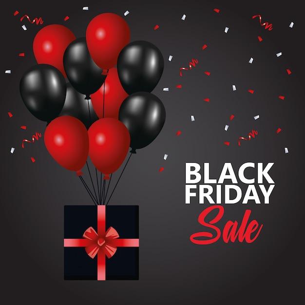Affiche De Vente De Vendredi Noir Avec Ballons à L'hélium Et Cadeau Vecteur Premium