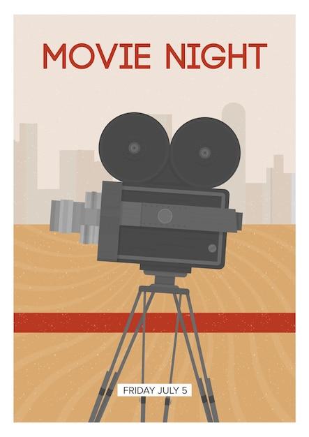 Affiche Verticale Pour La Soirée Cinéma Ou La Première D'un Film Avec Une Caméra Rétro Ou Un Projecteur Debout Sur Un Trépied. Vecteur Premium