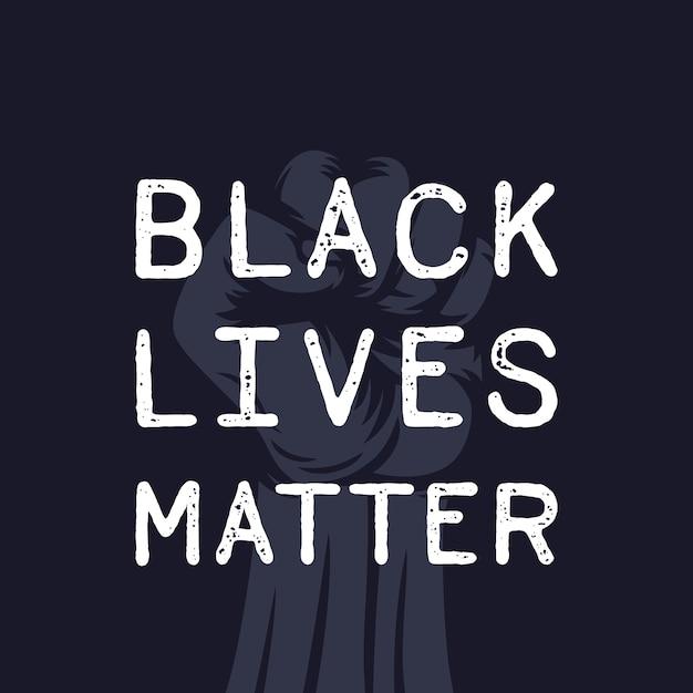 Affiche De La Vie Noire Avec Le Poing Levé En Signe De Protestation Vecteur Premium