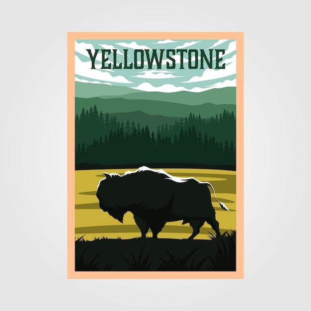 Affiche Vintage De Bison Sur Le Parc National De Yellowstone Vecteur Premium