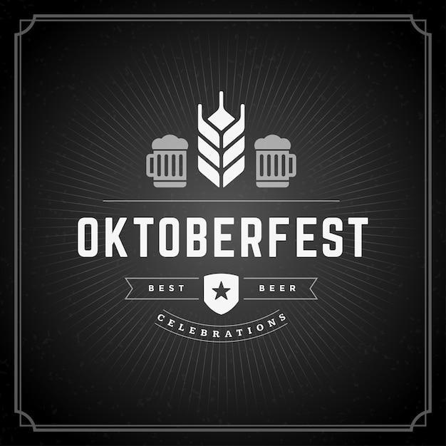 Affiche vintage ou carte de voeux d'oktoberfest Vecteur Premium