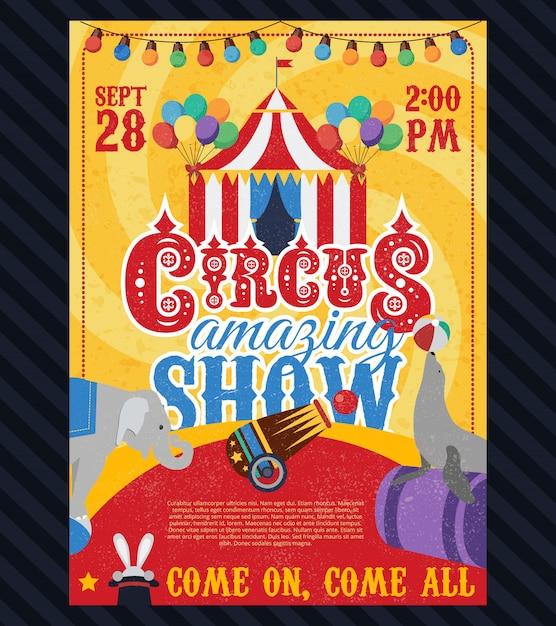 Affiche Vintage De Cirque Vecteur gratuit