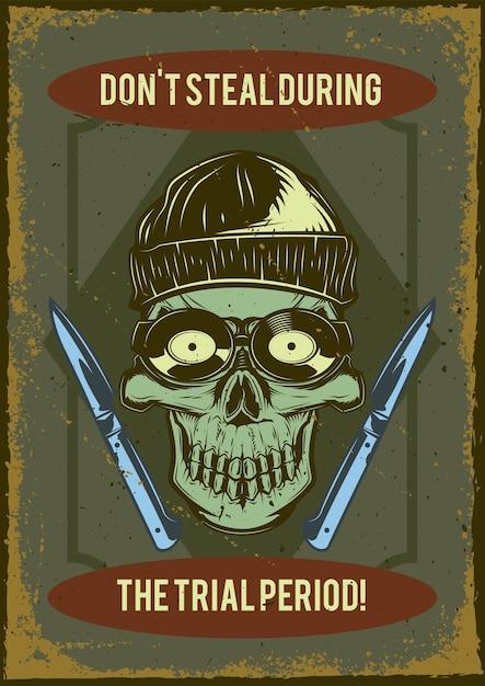 Affiche Vintage Avec Illustration Du Crâne D'un Voleur Avec Des Crochets De Verrouillage Vecteur gratuit